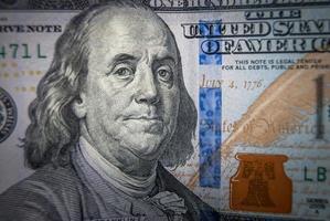 neue 100-Dollar-Schein-Nahaufnahme foto