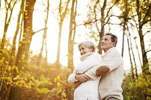 aktive Senioren, die in der Natur spazieren gehen