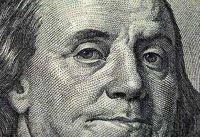 Fragment von einhundert Dollar Rechnung foto