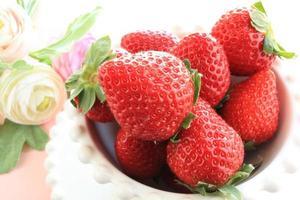 Nahaufnahme japanische Erdbeere foto