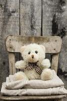 Teddybär sitzt auf Stuhl foto