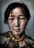 mongolisches Mädchen Porträt unschuldige Kultur Armut Konzept foto