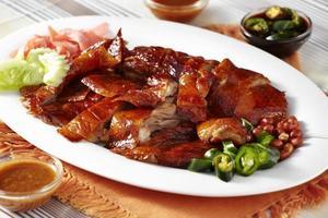 Nahaufnahme chinesische Ente und Sauce foto