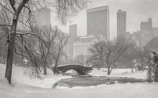 der Teich, die Gapstow-Brücke und die Wolkenkratzer von Manhattan während eines Schneesturms.
