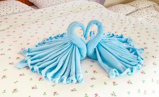 Paar blaue Schwäne im herzförmigen Handtuch foto