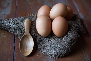 Ei auf Holzhintergründen foto