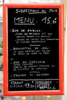 Menü in Frankreich foto