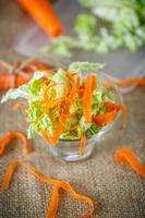 Salat aus frisch gehacktem Kohl und Karotten