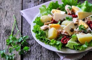 Salat aus Salat, Eisbergsalat, mit Thunfischkonserven, getrockneten Tomaten