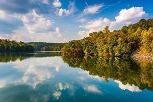 Wolken und Bäume, die sich im Prettyboy-Reservoir, Baltimore Co., spiegeln