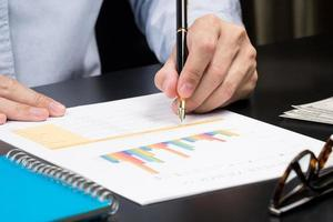Mann Analyse Geschäfts- und Finanzbericht. foto