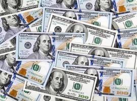 Haufen von Dollars, Geldhintergrund foto