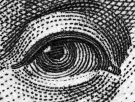 Schwarz und Weiß, Dollar USA, Auge. extreme Nahaufnahme.macro foto