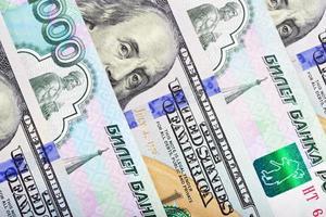 Dollar und Rubel Hintergrund foto