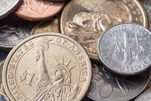 US amerikanische Münze und viele internationale Währungen foto