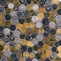Münzen von Kuwait Hintergrund foto