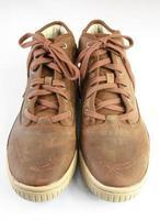 Stiefel isoliert auf einem weißen Hintergrund, Paar Stiefel foto