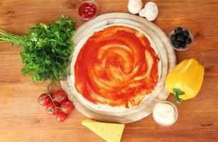 Prozess der Herstellung von Pizza