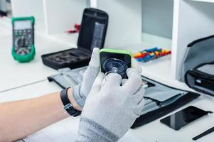 Prozess der Reparatur von Mobiltelefonen foto