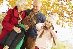 Großeltern und Enkelkinder spielen unter Herbstbaum foto