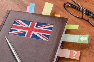 Notizbuch mit der Flagge des Vereinigten Königreichs foto