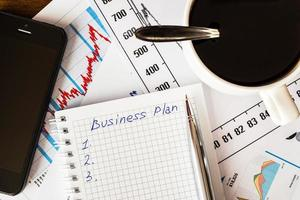 Arbeit im Büro, Kaffeetasse mit Businessplan foto