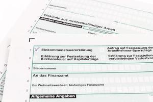 Form der Einkommensteuererklärung foto