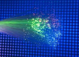 optische Fasern Dinamic fliegen aus der Tiefe auf Technologie Hintergrund