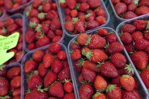 Nahaufnahme von frischen Erdbeeren im Laden ausgestellt