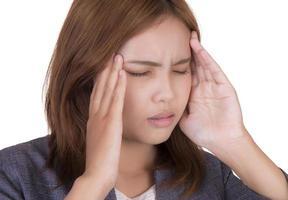 Geschäftsfrau in Kopfschmerzen. foto
