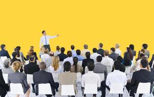 Präsentationskonzept für Geschäftsmannseminar-Konferenztreffen foto
