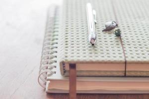 Stift auf zwei Notizbüchern foto