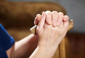 alte Frau Hände mit Zuckerrohr
