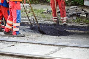 Straßenbau Teamwork foto