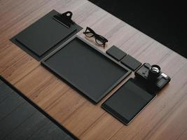Satz der schwarzen Geschäftselemente. 3d rendern foto