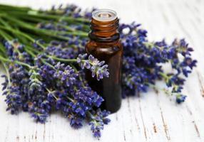 Lavendel und Massageöl foto