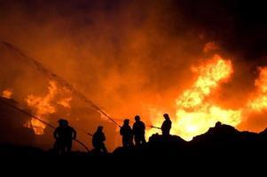 Feuerwehrleute bei der Arbeit foto
