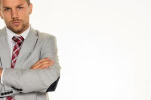 Managerfront des weißen Hintergrunds foto