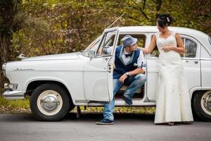 Retro Hochzeitsauto foto