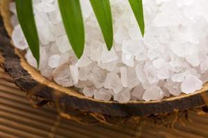 Meersalz mit Palmblatt foto