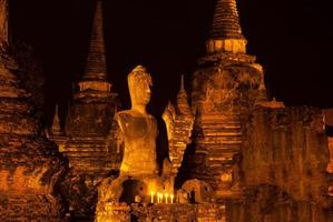 Nachtszene des Wat Phra Si Sanphet Tempels. foto