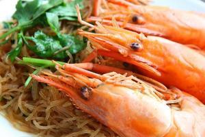 Garnelennudeln. Thai Essen