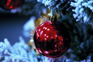 rote Kugel auf Weihnachtsbaum. Frohe Weihnachten und alles Gute