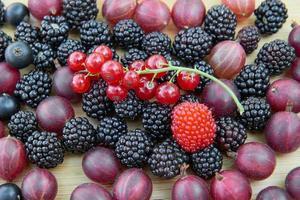 Brombeeren, Stachelbeeren, rote Johannisbeeren, schwarze Johannisbeeren auf einem Holztisch