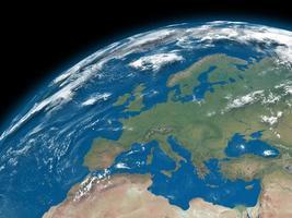 Europa auf blauer Erde foto