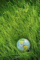 Globus auf Gras. Tag der Erde, Umweltkonzept
