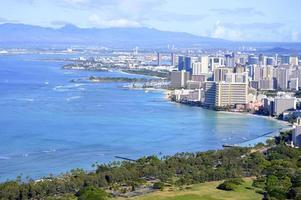 Blick auf den Strand von Waikiki foto