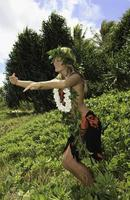Hawaii Hula tanzte von einem Teenager-Mädchen foto