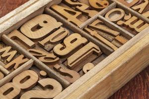 Buchdruck Holz Typ abstrakt foto