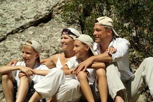 fröhliche vierköpfige Familie foto